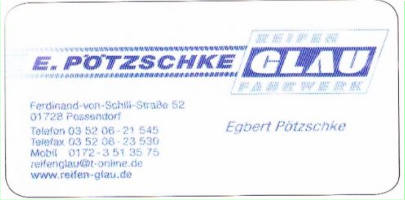 Reifen GLAU Fahrwerk Pötzschke